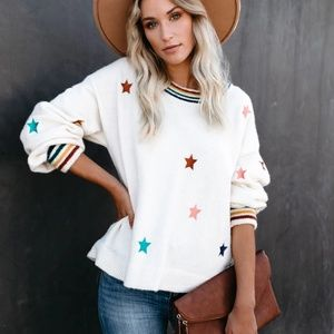 NWT hearst star embroidered knit sweater